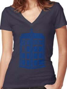 Colour Me Tardis Women's Fitted V-Neck T-Shirt