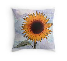 Fantasy Sunflower with Blue Paper Texture Throw Pillow