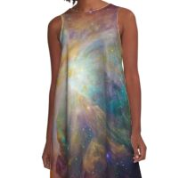 Rainbow Galaxy : Universe Space Print A-Line Dress