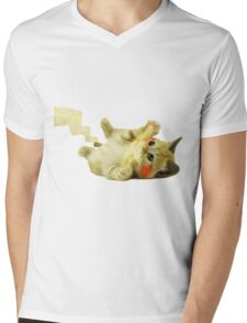 Pikachu Cat Mens V-Neck T-Shirt