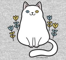White Odd Eyed Cat with Flowers Kids Clothes