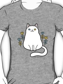 White Odd Eyed Cat with Flowers T-Shirt