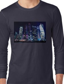 Moscow Skyscrapers By Night Long Sleeve T-Shirt