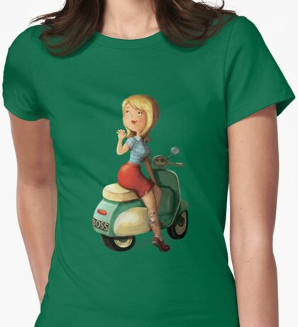 Scooter Girl Womens Fitted T-Shirt