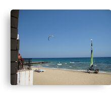 PULL ASHORE FOR A PINT. Canvas Print