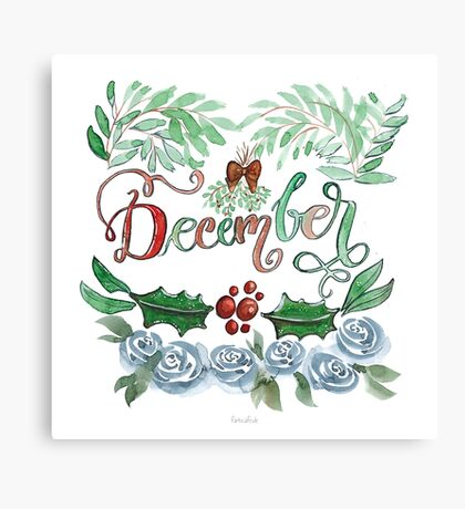 Dezember Handlettering mit Aquarell Blumen Canvas Print