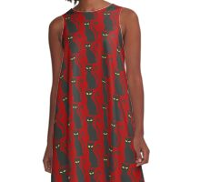 Black Cat : Kitten Halloween Spooky Print  A-Line Dress