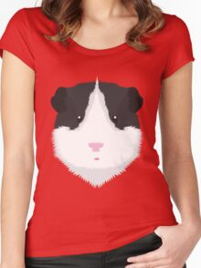 Black and White Guinea Pig Pyjama T-Shirt Women's Fitted Scoop T-Shirt