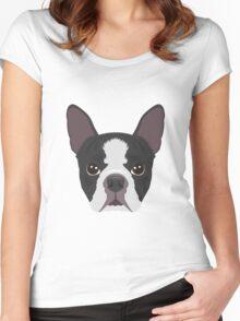 Boston Terrier Pyjama T-Shirt Women's Fitted Scoop T-Shirt