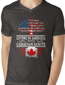 Living in America with Canadian roots T-Shirt Mens V-Neck T-Shirt