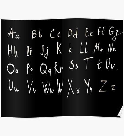 Hand drawn english alphabet Poster