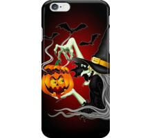 Witch with Jack O'Lantern and Bats iPhone Case/Skin
