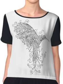Bird - Tattoo Black and White Chiffon Top