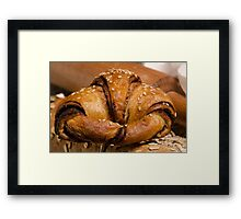 Chocolate filled croissant pastry snack Framed Print