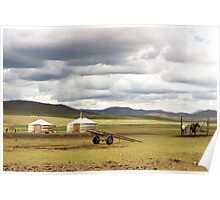 Mongolian dwellings, Gers Photographed in Mongolia  Poster