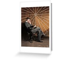 Nikola Tesla in front of a spiral coil Greeting Card