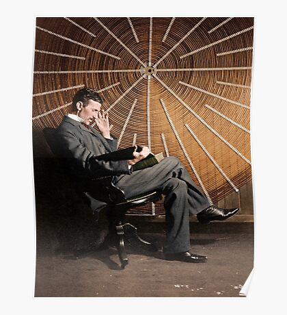 Nikola Tesla in front of a spiral coil Poster