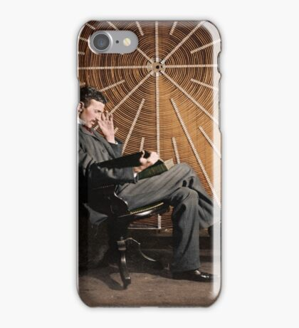 Nikola Tesla in front of a spiral coil iPhone Case/Skin