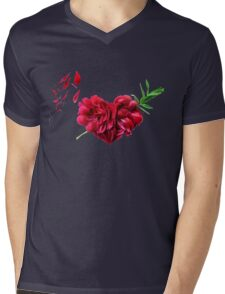Heart of the petals and peony leaves Mens V-Neck T-Shirt