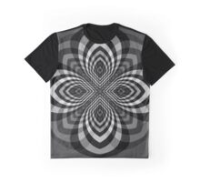 Black and White Star Flower Graphic T-Shirt