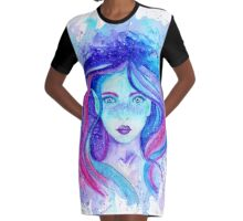 Galaxy Pixie Girl Graphic T-Shirt Dress