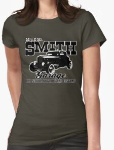 Mrs.& Mr. Smith Hot-Rod Garage Womens Fitted T-Shirt