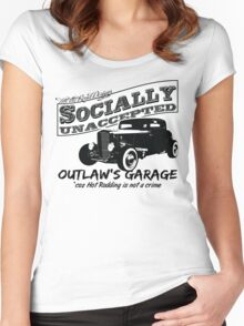 Outlaw's Garage. Socially unaccepted Hot Rod light bkg Women's Fitted Scoop T-Shirt