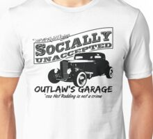 Outlaw's Garage. Socially unaccepted Hot Rod light bkg Unisex T-Shirt
