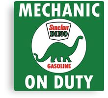 Sinclair Dino Mechanic on Duty vintage sign Canvas Print