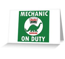 Sinclair Dino Mechanic on Duty vintage sign Greeting Card