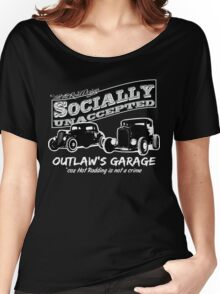 Outlaw's Garage. Socially unaccepted Hot Rods dark bkg Women's Relaxed Fit T-Shirt