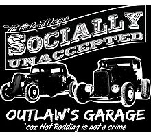 Outlaw's Garage. Socially unaccepted Hot Rods dark bkg Photographic Print