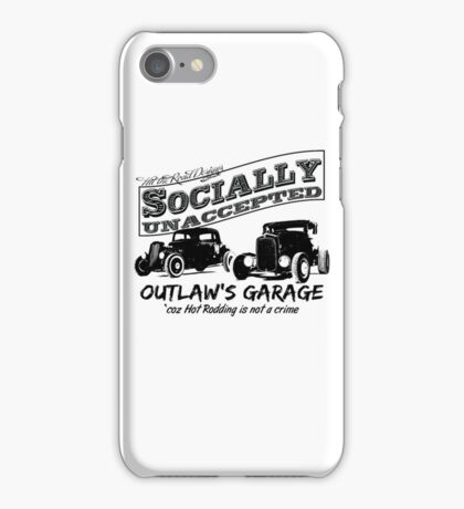 Outlaw's Garage. Socially unaccepted Hot Rods light bkg iPhone Case/Skin