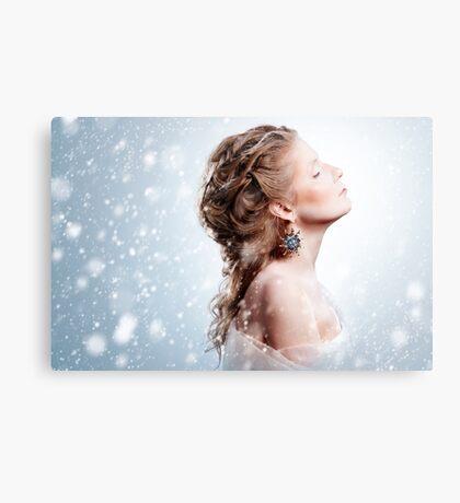 Beautiful girl with glamour Christmas makeup Canvas Print