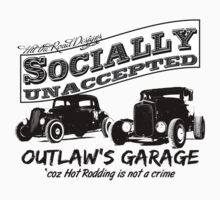 Outlaw's Garage. Socially unaccepted Hot Rods light bkg One Piece - Short Sleeve