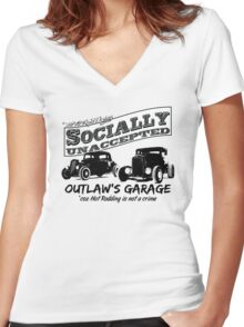 Outlaw's Garage. Socially unaccepted Hot Rods light bkg Women's Fitted V-Neck T-Shirt