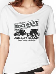 Outlaw's Garage. Socially unaccepted Hot Rods light bkg Women's Relaxed Fit T-Shirt