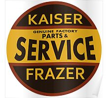 Kaiser Frazer Approved Service vintage sign (brown) Poster