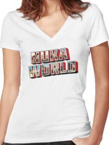 Nuka-Cola Vintage Postcard Women's Fitted V-Neck T-Shirt