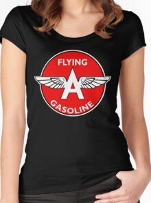 Flying A Gasoline vintage sign Women's Fitted Scoop T-Shirt