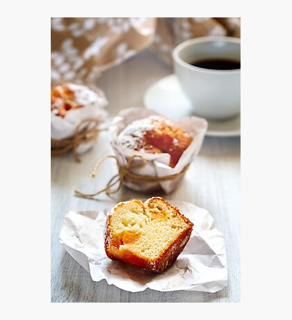 Breakfast with muffins and coffee close up Photographic Print