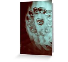 Multiple image of eye of young woman with makeup in dark analog film 35mm photo Greeting Card