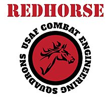 Cool Horseman Redhorse USAF Combat Squadron Engineering T-shirt Photographic Print