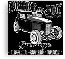 Pride and Joy Hot Rod Garage dark bkg Canvas Print