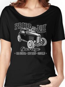 Pride and Joy Hot Rod Garage dark bkg Women's Relaxed Fit T-Shirt