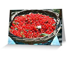 basket solar red bright berries Greeting Card