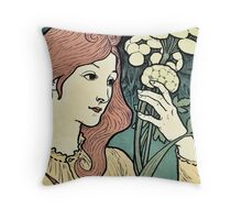 Beautiful red headed woman vintage art nouveau expo ad Throw Pillow