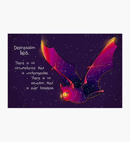 """Depression Lies"" Galaxy Bat Photographic Print"