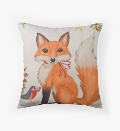 Little Christmas fox with bird Throw Pillow