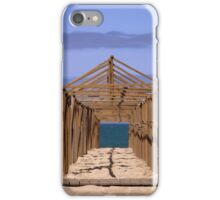 Wooden beach tent structure, Portugal iPhone Case/Skin